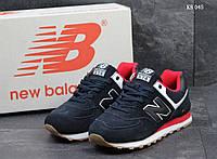 Мужские кроссовки New Balance 574, замша, полиуретан, синие с красным.