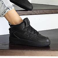 Подростковые зимние ботинки Nike 8480 черные, фото 1