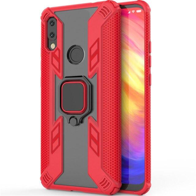 Ударопрочный чехол Combo Ring под магнитный держатель для Xiaomi Redmi 7 Красный