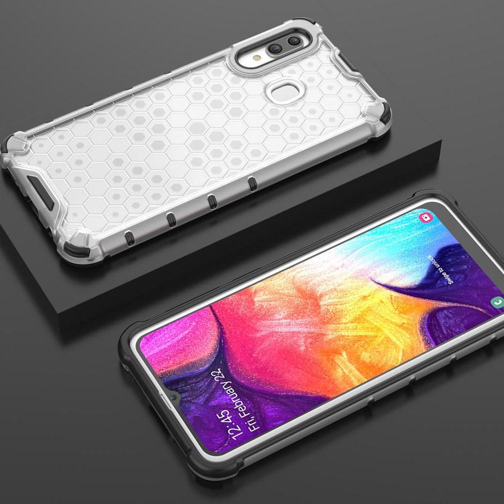 Ударопрочный чехол Transformer Honeycomb для Samsung Galaxy A20 / A30 Прозрачный