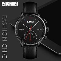 Классические мужские наручные часы Skmei 1399 Black Black /  Brown White