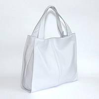 Кожаная вместительная белая сумка
