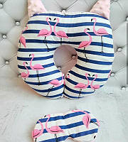 """Дорожня подушка """" Фламінго в полоску """" +маска для сну в подарунок"""