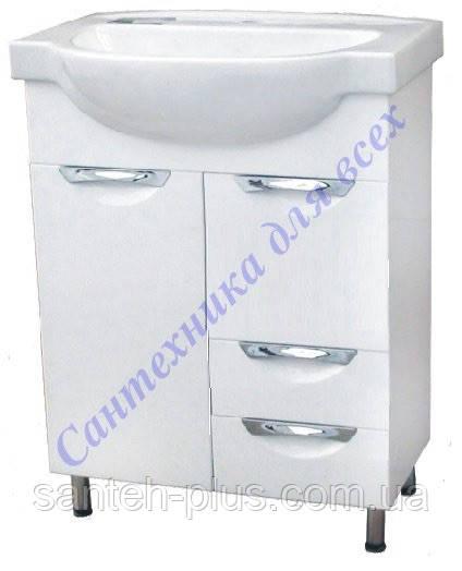 Тумба для ванной комнаты с выдвижными ящиками Грация Т7/2 с умывальником Эпика-60