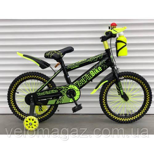"""Велосипед TopRider 869 20"""" салатовый детский двухколесный с бутылочкой"""