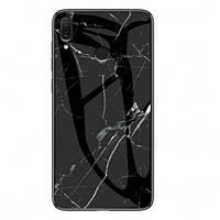Стеклянный чехол-накладка Luxury Marble для Xiaomi Redmi 7 Черный