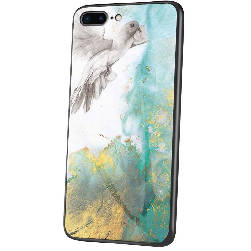 """Стеклянный чехол-накладка Luxury Marble для Apple iPhone 7 plus / 8 plus (5.5"""") Голубь"""