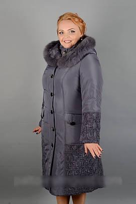 Женское плащевое зимнее пальто