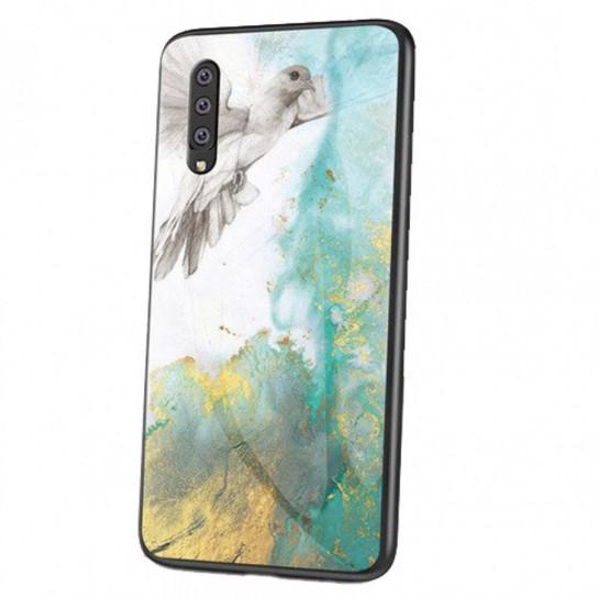 Стеклянный чехол-накладка Luxury Marble для Samsung Galaxy A70 (A705F) Голубь