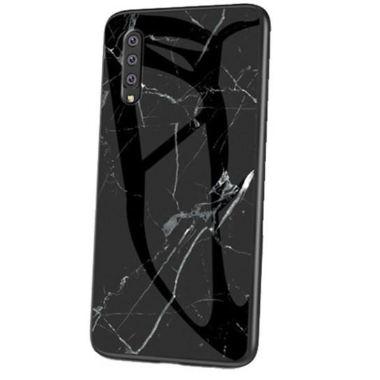 Стеклянный чехол-накладка Luxury Marble для Samsung Galaxy A70 (A705F) Черный