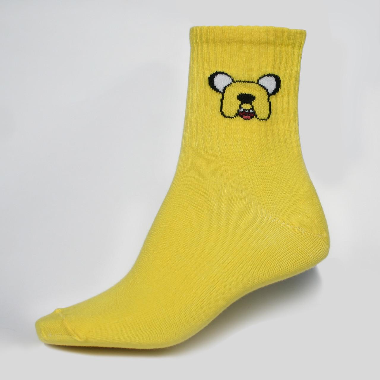 """Шкарпетки жовті з принтом """"Час Пригод """""""