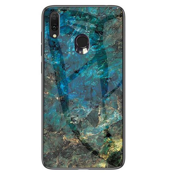 Стеклянный чехол-накладка Luxury Marble для Samsung Galaxy M20 Морская волна
