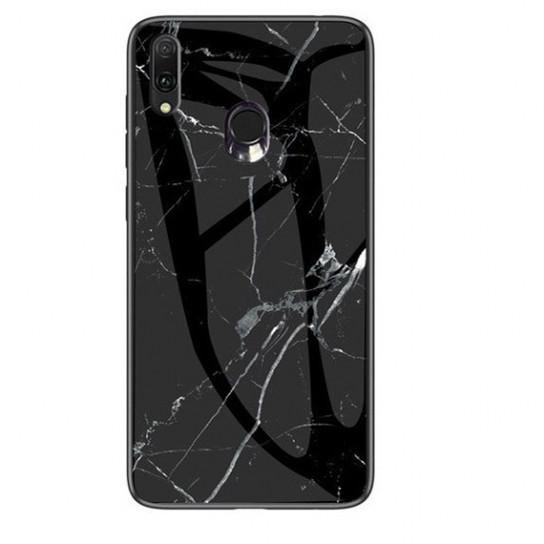 Стеклянный чехол-накладка Luxury Marble для Samsung Galaxy M20 Черный