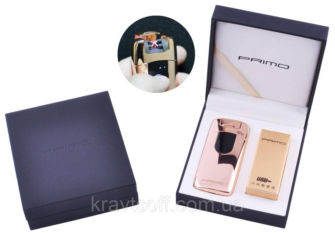 Электроимпульсная зажигалка в подарочной упаковке Primo (Двойная молния, USB) №XT-4964 Gold