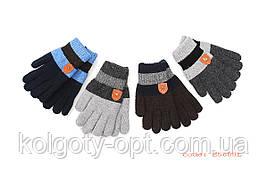 Перчатки двойные вязанные для мальчиков с эмблемами (продаются только от 12 пар)