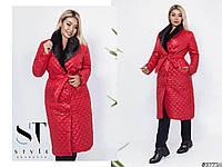 Пальто женское с меховым воротником размер батал, фото 1
