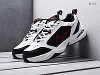 Мужские кроссовки Nike Air Monarch IV, кожа, сетка, пена, белые с черным.