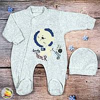 Велюровый спальник и шапочка, серого цвета, для малыша Размеры: 3,6,9 месяцев (9141-2)