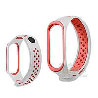 Ремешок браслет для Xiaomi Mi Band 3 / 4 силиконовый Nike style White-Red