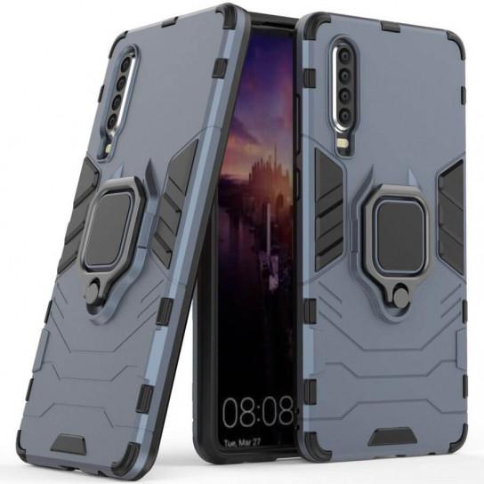 Ударопрочный чехол Transformer Ring под магнитный держатель для Huawei P30 Серый / Metal slate