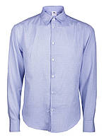 Рубашка мужская повседневная голубая однотонная Голубой, XL
