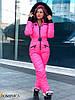 Лыжный женский комбинезон розовый с натуральным мехом DD/-1637