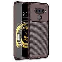 Чехол Carbon Case LG V50 ThinQ Коричневый