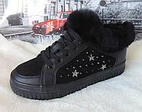 Ботинки женские экокожа Prima D'Arte. Кеды утепленные. Зимняя женская обувь на меху.