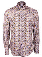 Рубашка мужская повседневная бежевая в растительный рисунок Бежевый, XL