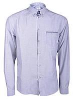 Рубашка мужская повседневная серая в бело-синие точки Серый, XL