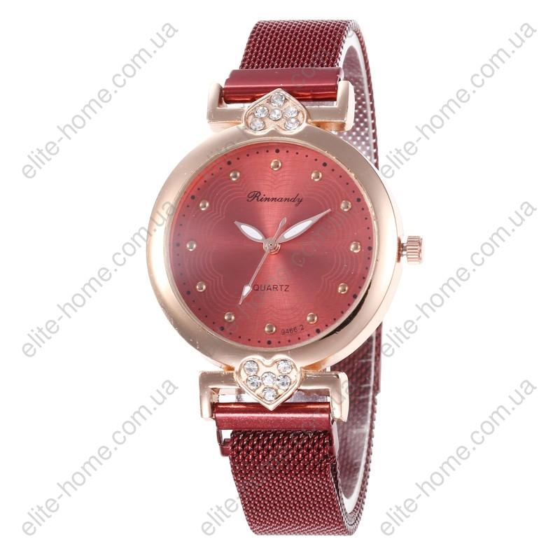 """Женские наручные часы на магнитной застежке """"Rinnandy"""" (бордовый)"""