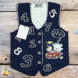 "Вязанная жилетка для малыша ""Цифры"" Размеры: 0-1,1-2,2-3,4-5 лет (9153-1)"