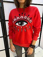 Свитерок женский брендовый в стиле Кензо глаз красный размер S, М