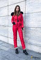 Лыжный женский комбинезон красный с натуральным мехом DD/-1637