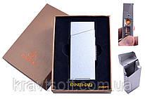 Портсигар с USB зажигалкой в подарочной упаковке (Под пачку сигарет Slim, Спираль накаливания) №4840 Silver