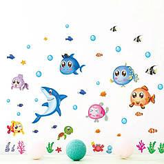 """Наклейки в ванную, в детскую  """"акула и рыбки"""" (лист30*60см)  рыбки наклейки для детей"""