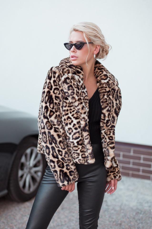 """Стильная женская короткая леопардовая шуба """" Автоледи """""""