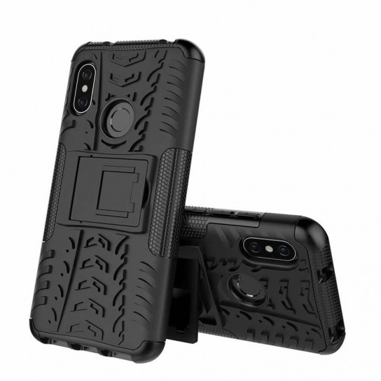 Противоударный двухслойный чехол Shield для Xiaomi Mi 6X / Mi A2 с подставкой Черный