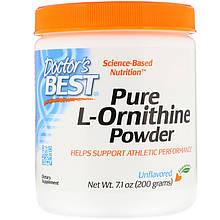 "L-Орнитин Doctor's Best ""Pure L-Ornithine Powder"" чистый порошок, без вкусовых добавок (200 г)"