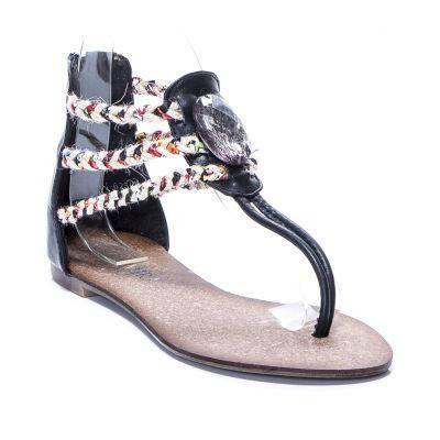 Черные сандали на плоской подошве