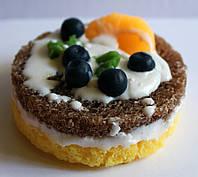 Натуральное мыло ручной работы Пирожное бисквитное круглое