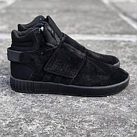 Мужские кроссовки Adidas Tubular Invader Strap Black, черные. Код товара : KS 763