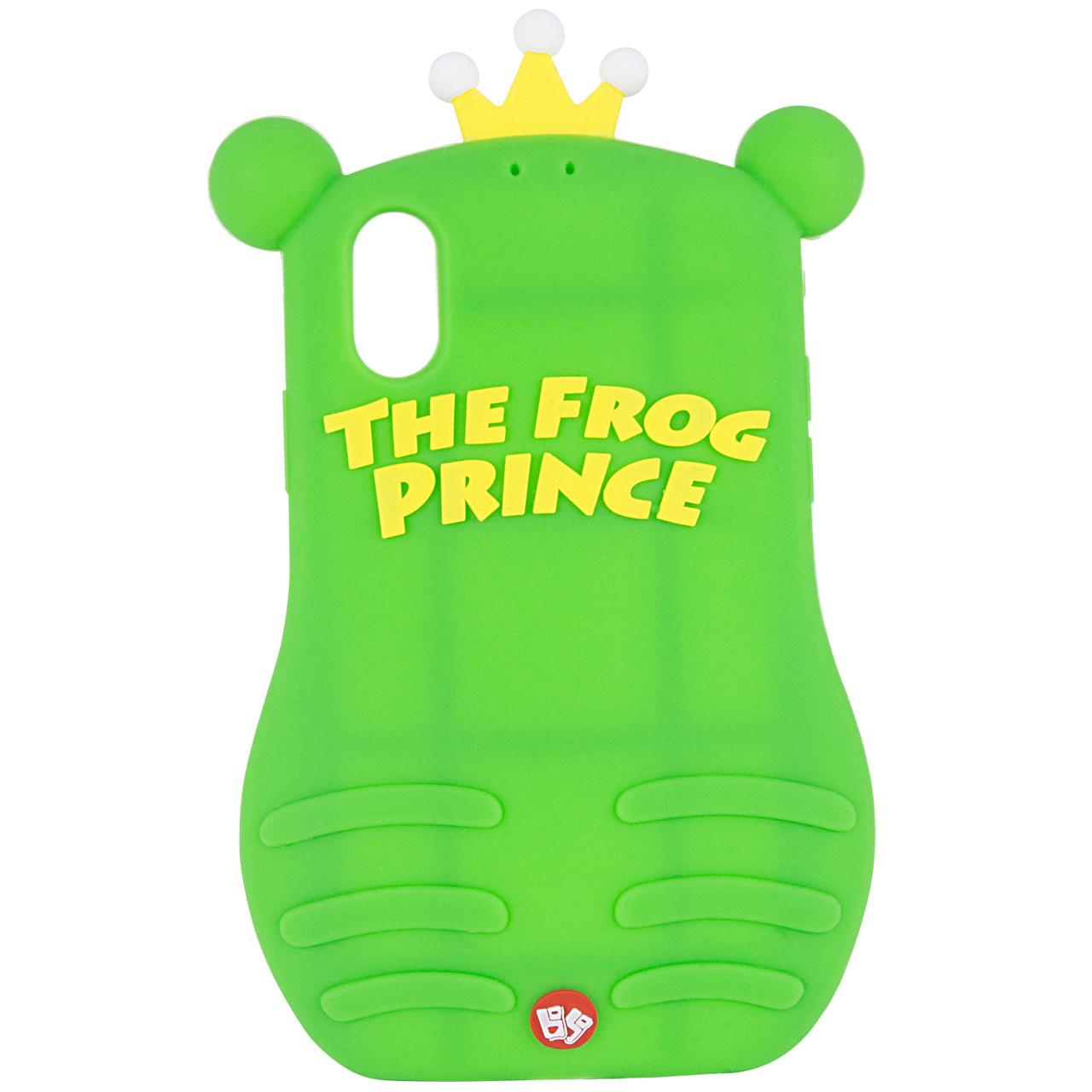 """Фактурный силиконовый чехол Funny ART 3D с игрушкой для Apple iPhone X (5.8"""") Лягушка зеленая"""