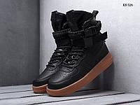 Мужские кроссовки Nike Air Force af 1, натуральная кожа, нейлон, полиуретан(прошитые), черные.