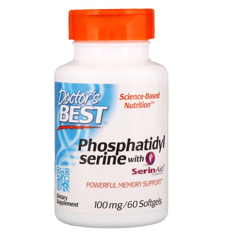 """Фосфатидилсерин Doctor's Best """"Phosphatidylserine with SerinAid"""", поддержка мозга, 100 мг (60 гелевых капсул)"""