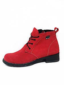 Женские демисезонные ботинки натуральная замша в красном цвете