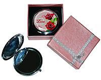 Зеркальце косметическое для макияжа двустороннее Love 7006-7 в подарочной коробочке