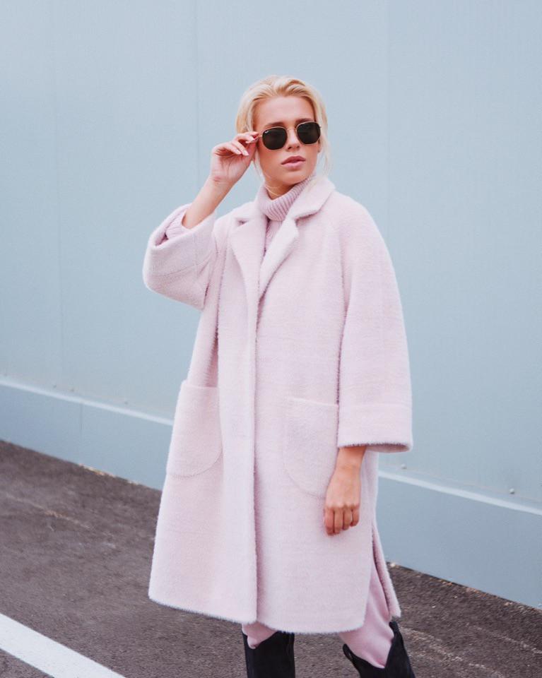 Женское стильное демисезонное пальто свободного покроя,цвет пудра