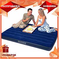 Пляжный надувной полуторный матрас - плот велюровый синий 68758 SH INTEX 137-191-22 см