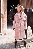 Стильная женская длинная шуба на пуговицах с поясом,пудрового цвета